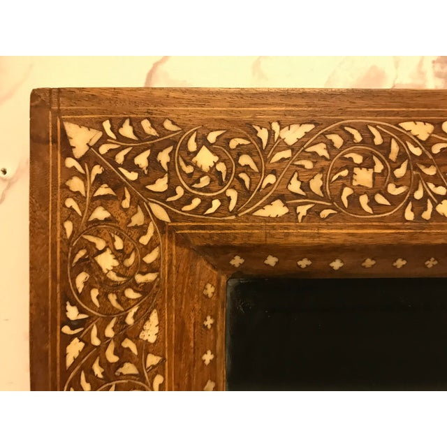 Late 20th Century Large Teak Mirror With Bone Inlay For Sale - Image 5 of 7