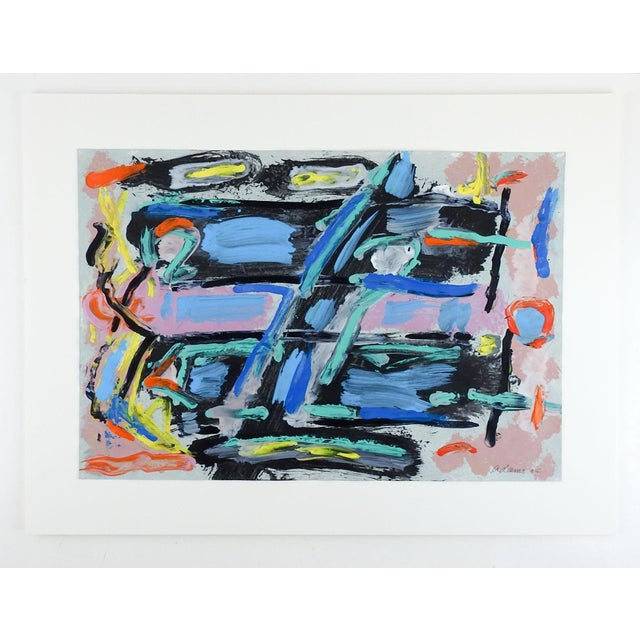 Abstract Abstract Blue, Black & Pink Painting on Paper For Sale - Image 3 of 4