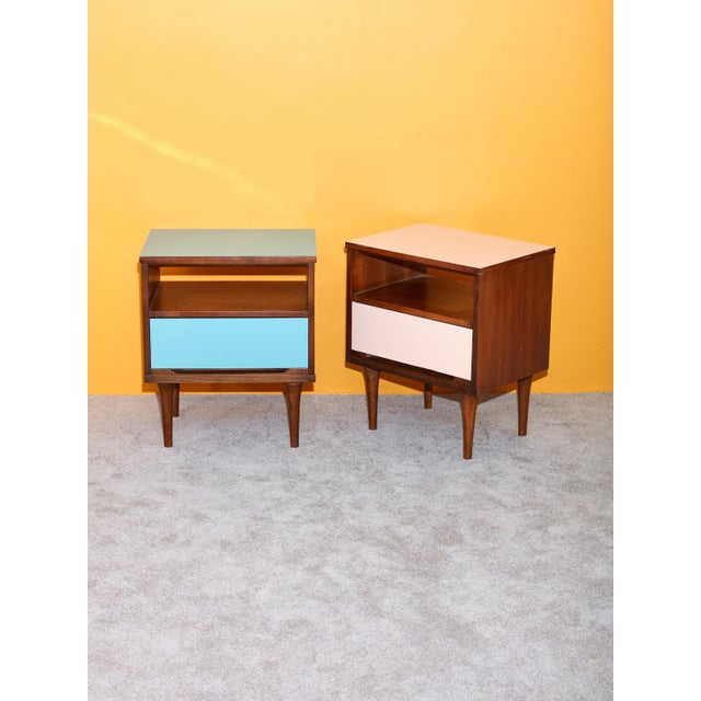 1960s Pair of Pink and Blue Nightstands For Sale - Image 5 of 5