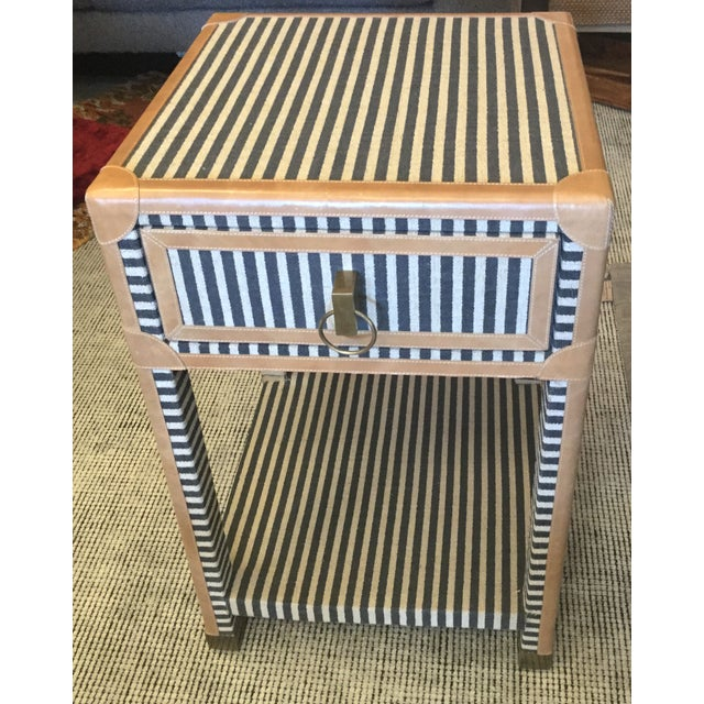 Blue & White Striped Nightstand - Image 2 of 8