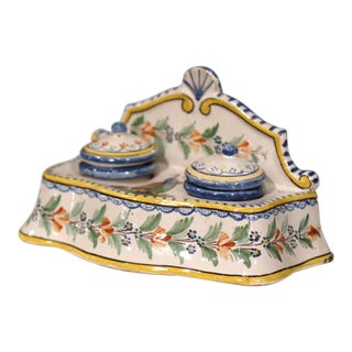 Early 20th Century French Hand-Painted Faience Inkwell Signed Hr Quimper For Sale