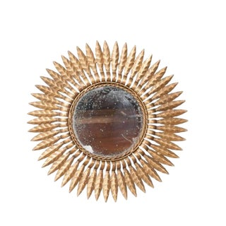 Early 20th Century French Gold Metal Starburst Mirror For Sale