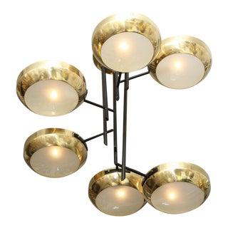 Custom Multi-Leveled Six-Arm Ceiling Light For Sale
