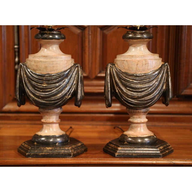 Italian Pair of Italian Carved Lamp Bases With Polychrome Antique Painted Finish For Sale - Image 3 of 12