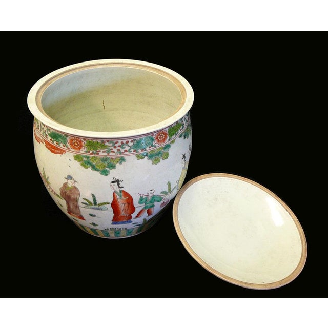 Chinese Porcelain Color People Gathering Scenery Pot For Sale - Image 5 of 7