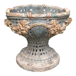 Antique Large Carved Italian Baroque Style Painted and Parcel-Gilt Reticulated Urn For Sale
