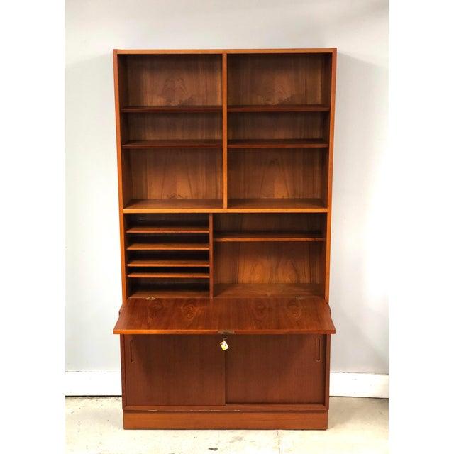 Danish Modern 1970s Danish Modern Hundevad Teak Wall Unit Desk & Bookcase For Sale - Image 3 of 11