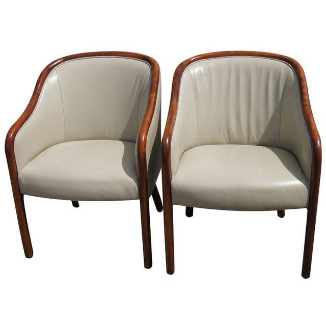 Pair of Ward Bennett for Brickel Leather Arm Chairs For Sale In Houston - Image 6 of 6