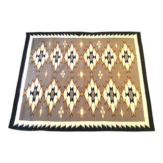 Vintage Navajo Native American Graphic Weaving Rug Textile For Sale