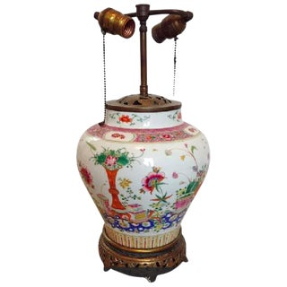 19TH CENTURY FAMILLE ROSE PORCELAIN GINGER JAR LAMP For Sale