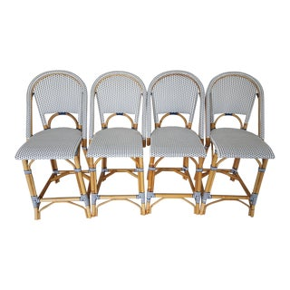 Serena & Lily Rattan Counter Stools - Set of 4 For Sale