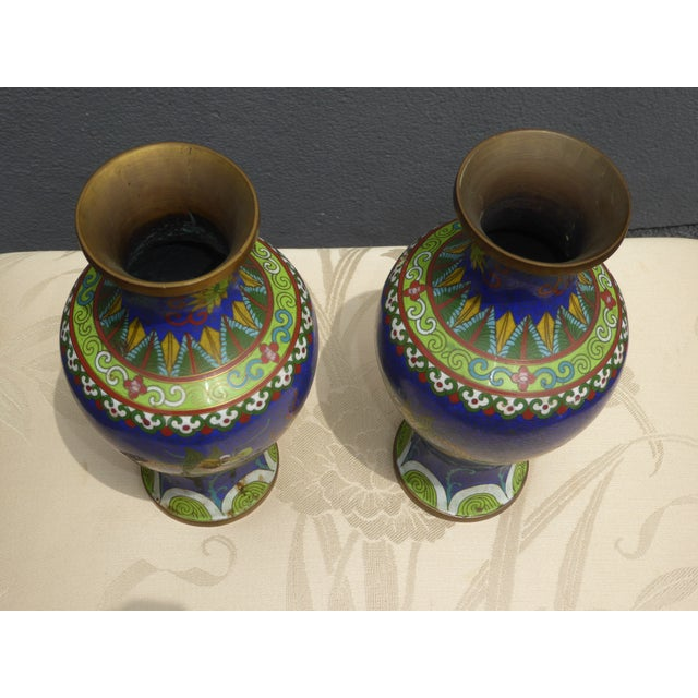 Vintage Chinese Cloisonne Brass Painted Blue Dragon Vases - A Pair - Image 6 of 11