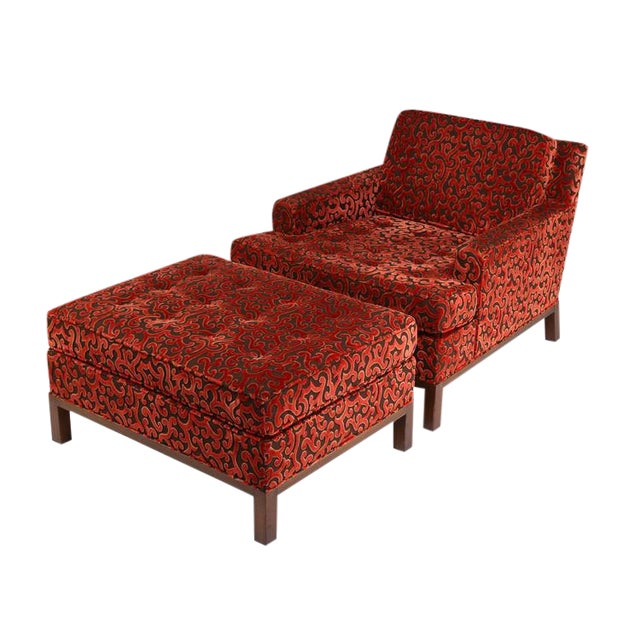 1960'S VINTAGE HARVEY PROBBER LOUNGE CHAIR & OTTOMAN For Sale