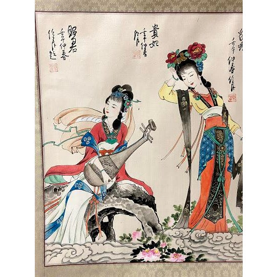 """Chinese Vintage """"Four Beauties"""" Chinese Silk Scroll Painting For Sale - Image 3 of 12"""