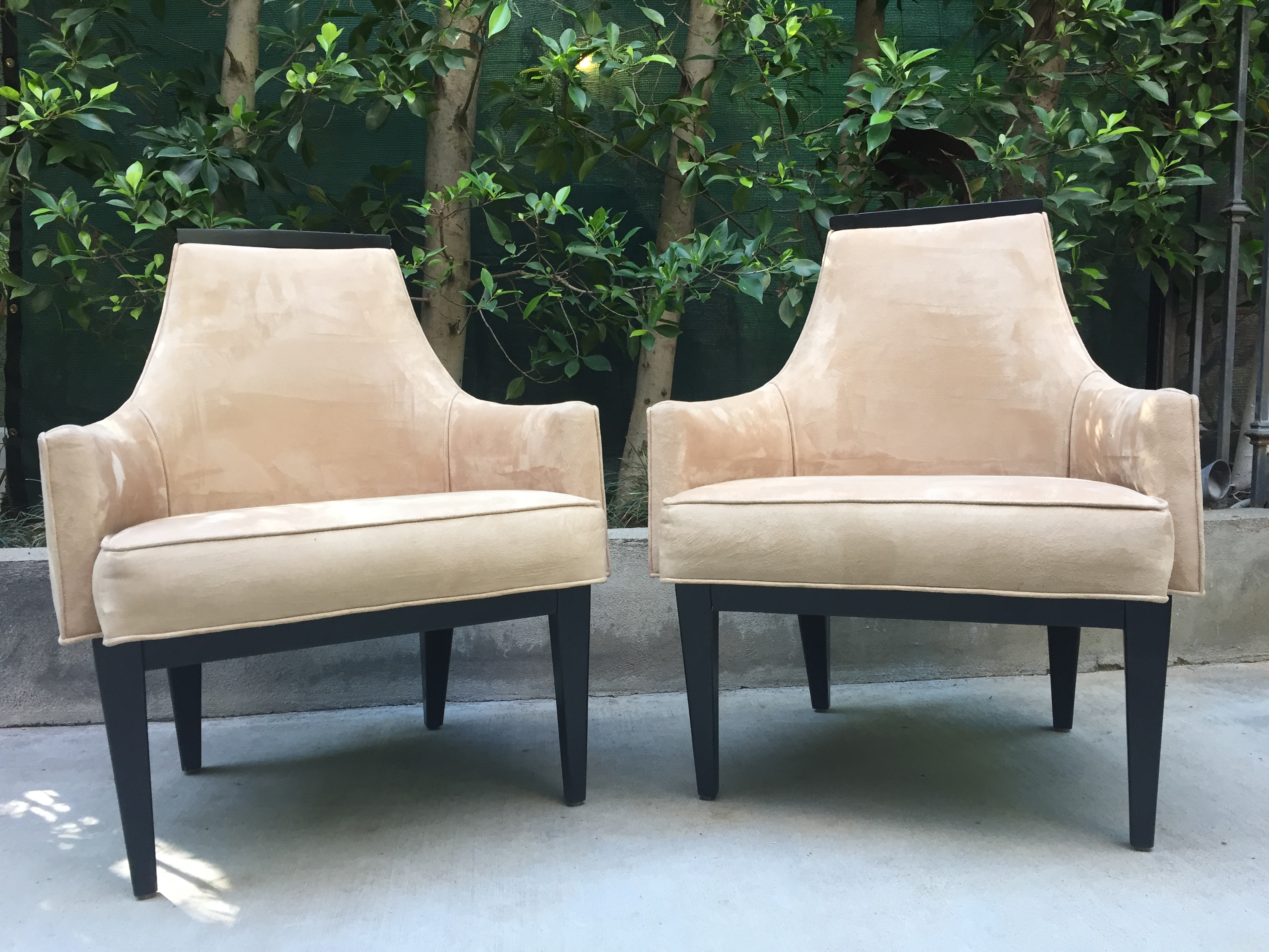Ultra-Suede Accent Chairs - Pair | Chairish