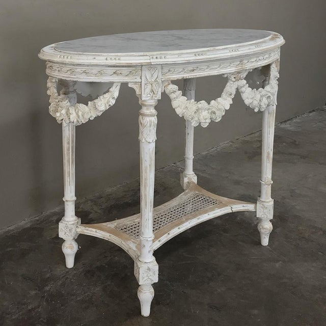 French 19th Century French Louis XVI Marble Top Table For Sale - Image 3 of 13