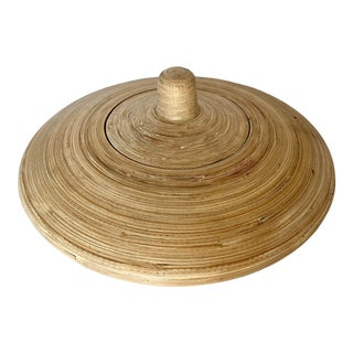 """Vintage Reed Bamboo Round Decorative Lidded Box, 15"""" Across For Sale"""