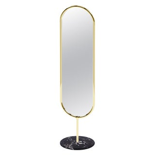 Polished Brass and Nero Marquina Marble Floor Mirror, Royal Stranger For Sale