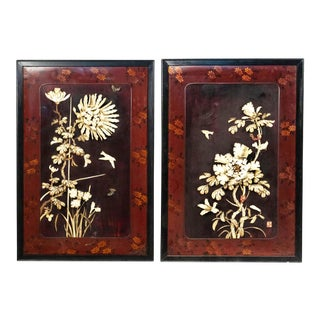 Chinese Lacquer and Bone Wall Plaques - a Pair For Sale