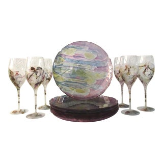 Watercolor Dinner Plates W/Wine Glasses, Srvc. For 6 For Sale