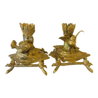 French Art Nouveau Bronze Bird Candlesticks
