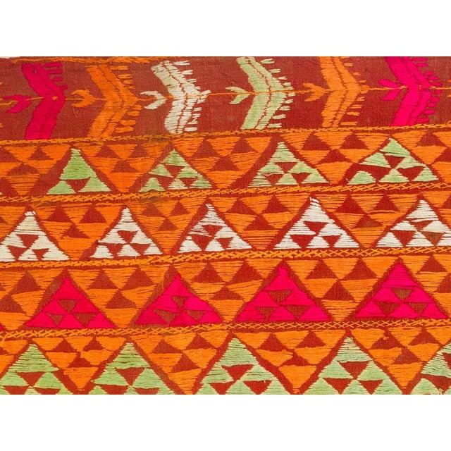 Silk Phulkari Wedding Shawl, Silk Embroidery on Cotton, Punjab India 20th Century For Sale - Image 7 of 13