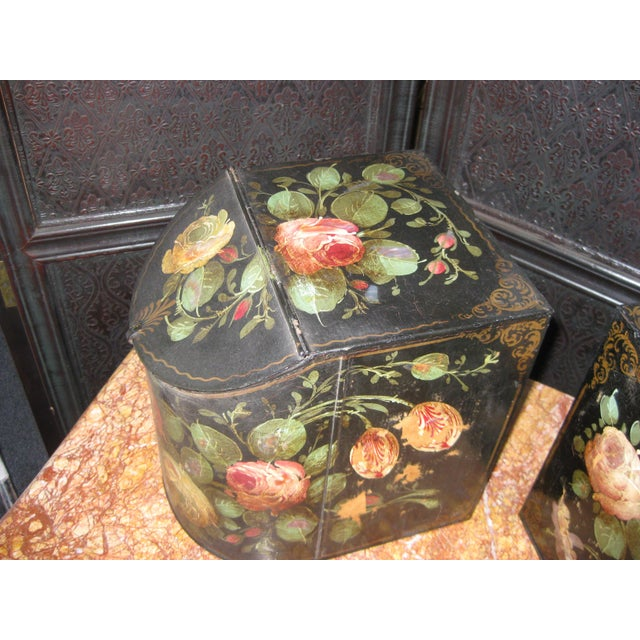 Mid 19th Century Antique English Painted Tole Storage Containers - Pair For Sale - Image 5 of 7