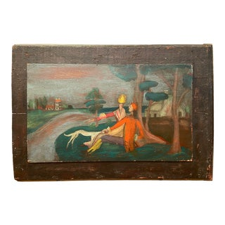 Early 20th Century Figurative Landscape Outsider Art Oil Painting on Cupboard Door For Sale