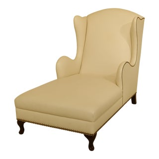 Off White Leather Chaise Lounge Chair With Tack Head Trim For Sale