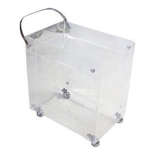 Mid-Century Modern Geometrical Lucite Serving Tea Bar Cart on Wheels For Sale