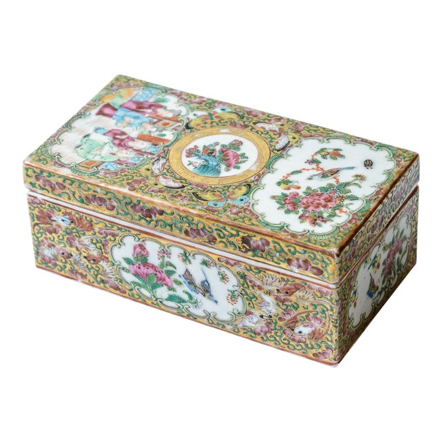 Chinese Rose Medallion Floral Box For Sale