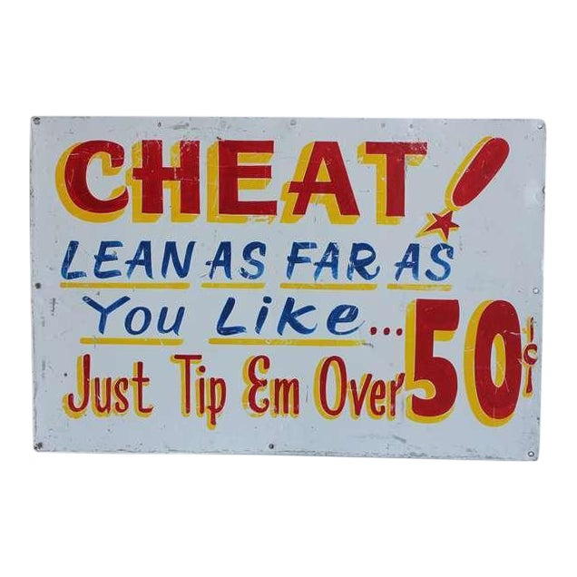 Vintage Carnival Sign Cheat! - Image 1 of 3