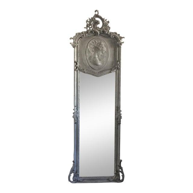 Grey Relief Beveled Floor Mirror For Sale