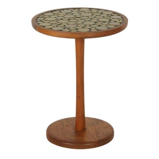 Gordon Martz Ceramic Tile Top Pedestal Occasional Table For Sale