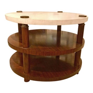 Henredon Transitional Mahogany Finished Wood and Stone Two-Tier Center Table For Sale