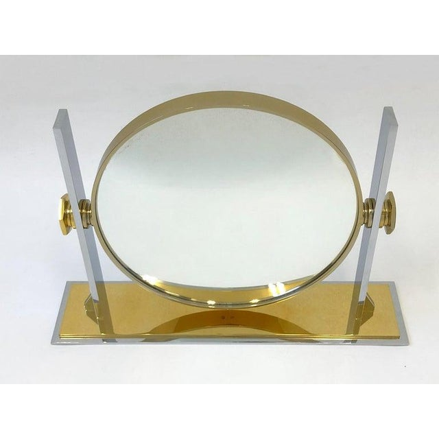 Modern Brass and Nickel Vanity Mirror by Karl Springer For Sale - Image 3 of 10