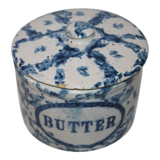 19th Century Rare Spongeware Pottery Butter Crock with Lid For Sale
