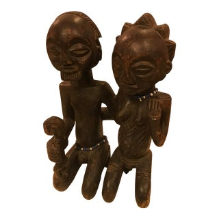 African, Luba Tribe Wood Carving of a Family, Vintage For Sale