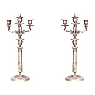 Pair of French Empire Style '19th Century' Bronze Doré Three-Arm Candelabra For Sale