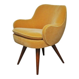 Vladimir Kagan Walnut Frame Lounge Armchair For Sale