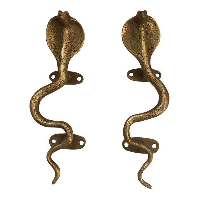 Gold Brass Cobra Door Handles - A Pair For Sale - Image 4 of 4