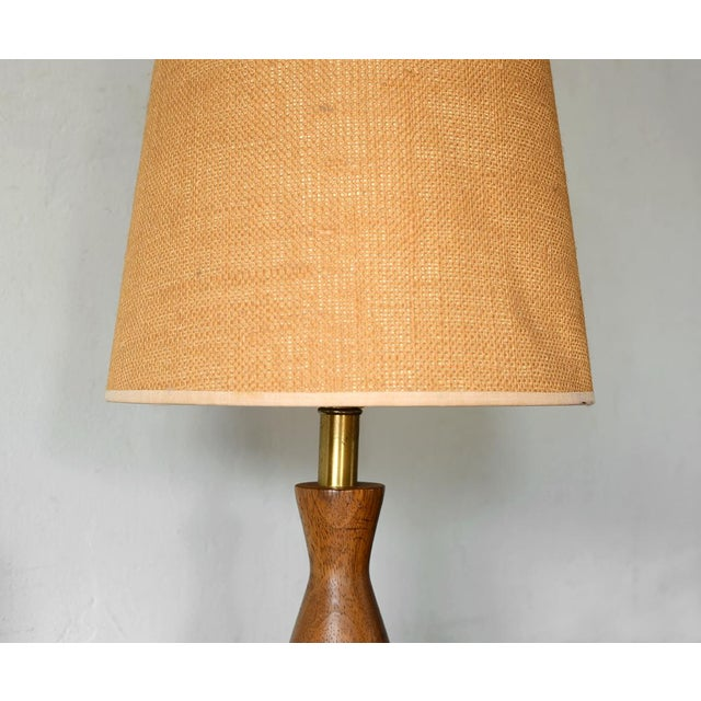Danish Modern Turned Wood Cone Table Lamp For Sale - Image 5 of 5