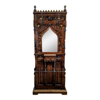 1880 Gothic Revival Coat Rack Hall Tree Umbrella Stand Hand Carved Mirror For Sale