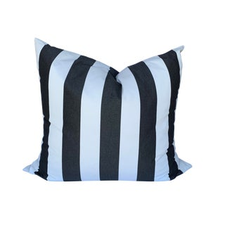 "Contemporary Oversized Outdoor Black and White Pillow - 38""x34"" For Sale"