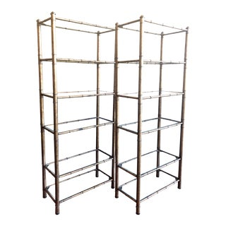 Vintage Gilded Metal and Glass Open Shelving - Pair For Sale