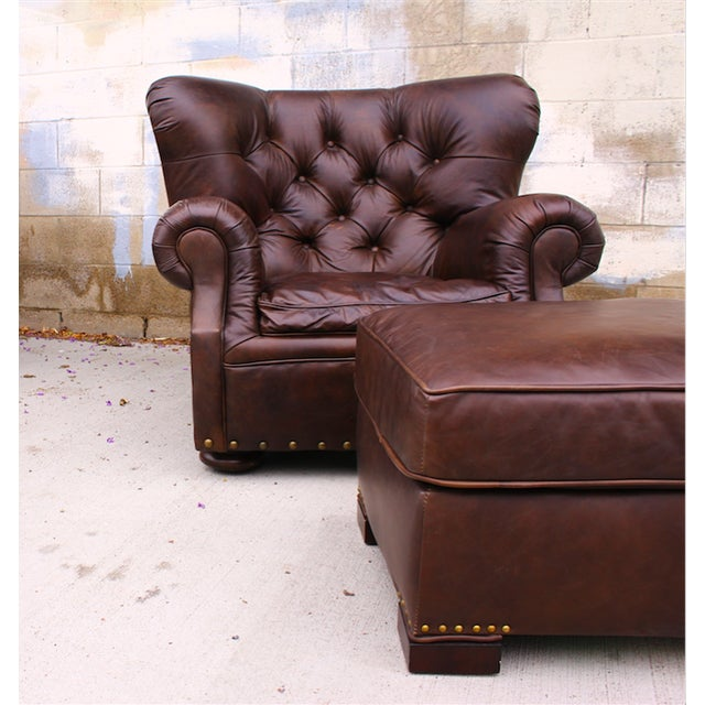 Restoration Hardware Churchill Chair & Ottoman - Image 5 of 9