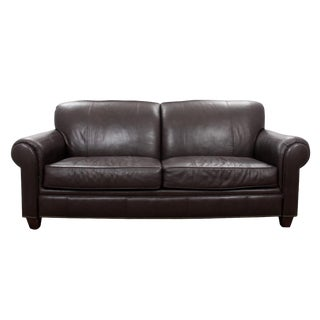 Modern Broyhill Contemporary Leather Sofa For Sale