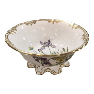 Spode Scalloped Rim Botanical Bowl with Gold Details For Sale