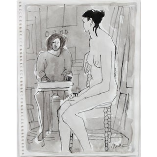 Rip Matteson Female Figure Drawn in Drawing Class, Grey Ink Wash on Paper, 20th Century For Sale