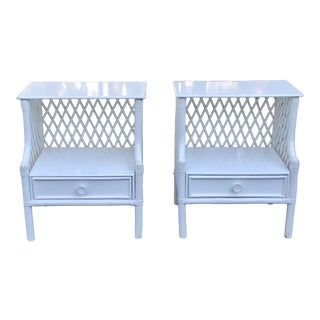 Vintage Boho Chic White Lacquered Rattan Tables - a Pair For Sale